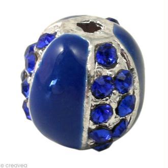 Perle Shamballa 10 mm Métal argenté - Bleu