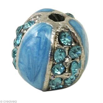 Perle Shamballa 10 mm Métal argenté - Bleu turquoise