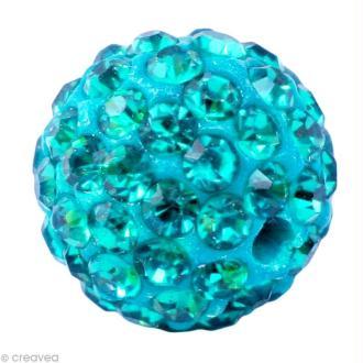 Perle Shamballa 12 mm - Bleu turquoise