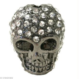 Perle shamballa tête de mort - Cristal 1,5 x 1,3 cm