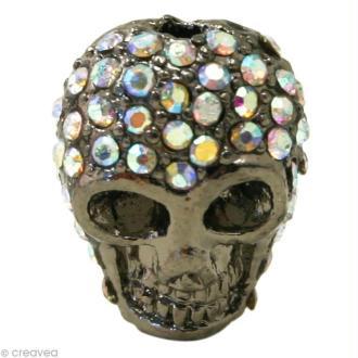 Perle shamballa tête de mort - Cristal hologramme 1,5 x 1,3 cm