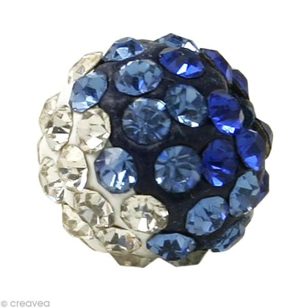 Perle Shamballa 10 mm tricolore - Trio bleu saphir - Photo n°1