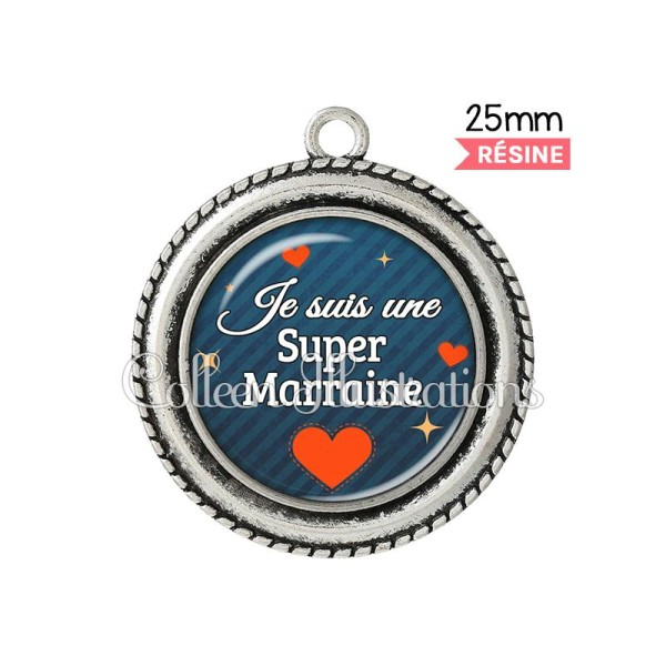 Pendentif résine Super marraine - Photo n°1