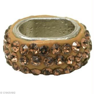 Perle Shamballa ovale 11 x 7 mm - Jaune topaze clair