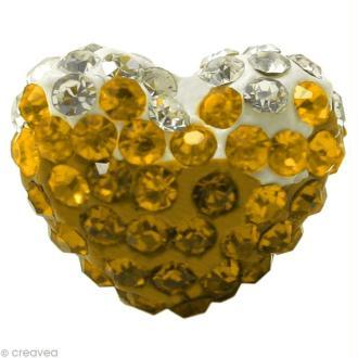 Perle Shamballa coeur 15 x 13 mm - Trio jaune topaze