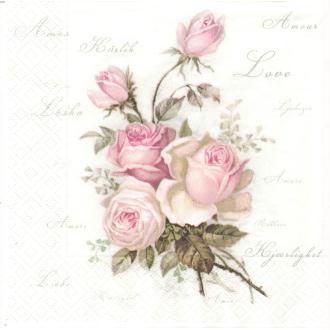 4 Serviettes en papier Bouquet de Roses Format Lunch