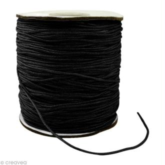 Cordon Shamballa 1,5 mm - Noir au mètre (sur mesure)