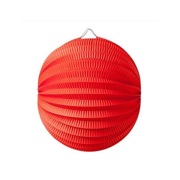 Lampion boule de 20 cm, Papier accordéon Rouge, à suspendre pour une déco printanière - Photo n°1