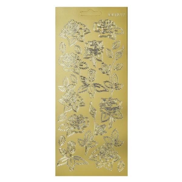 Sticker de contour Roses Dorées, Planche 10x23 cm, autocollants peel off pour scrapbooking - Photo n°1