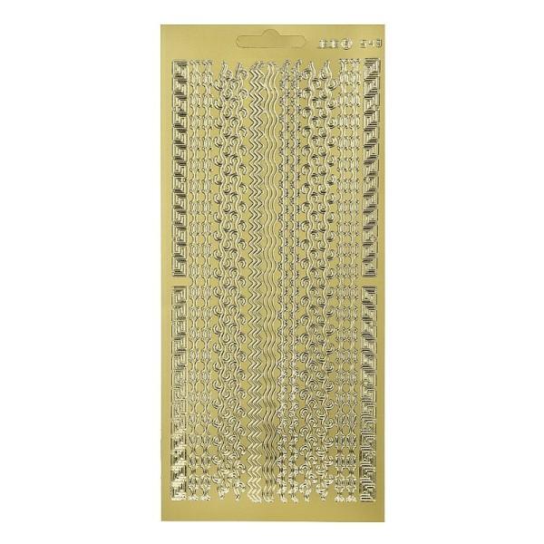 Sticker de contour Lignes et Arabesques Dorées, Planche 10x23 cm, autocollants peel off pour scrapbo - Photo n°1