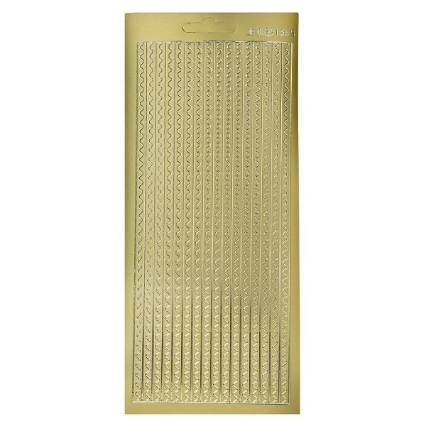 Sticker de contour Bordures vagues Doré, Planche 10x23 cm, autocollants peel off pour scrapbooking - Photo n°1