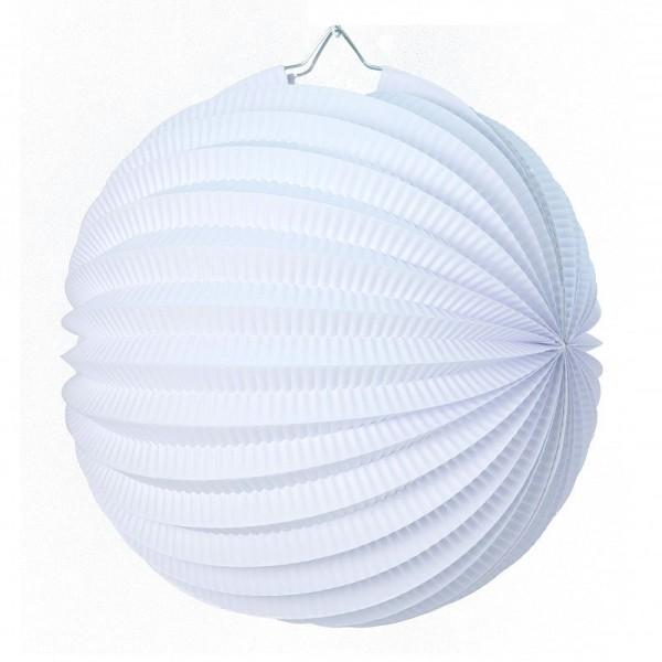 Lampion boule de 20 cm, Papier accordéon Blanc à suspendre pour une déco printanière - Photo n°1