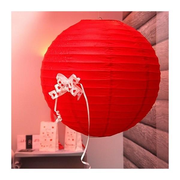 Grande Lanterne Japonaise Rouge, Lampion boule Papier, 50 cm, à suspendre - Photo n°2
