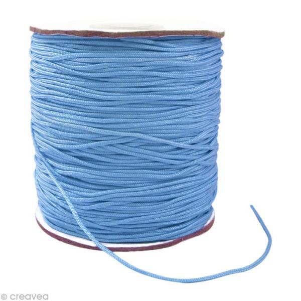 Cordon Shamballa 1,5 mm - Bleu saphir clair au mètre (sur mesure) - Photo n°1