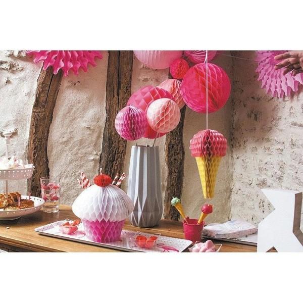 Glace Alvéolée Rose Clair et Jaune, h.20 cm, décoration estivale pour baby shower ou anniversaire - Photo n°2