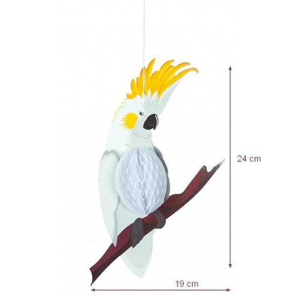 Perroquet Blanc corps Alvéolé en papier, dim. 19 x 24 cm oiseau exotique et estivale - Photo n°1