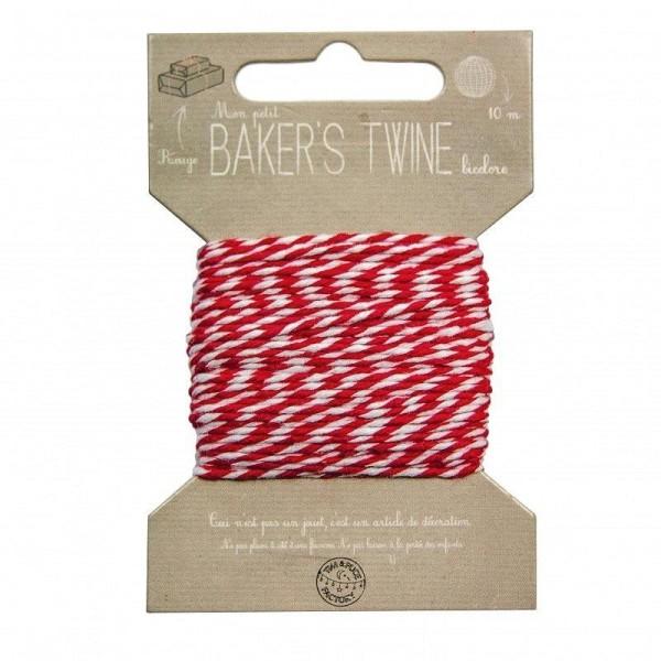 Cordonnet de fil blanc et rouge, diam. 1 mm, longueur 10 mètres, ficelle pour scrapbooking - Photo n°1