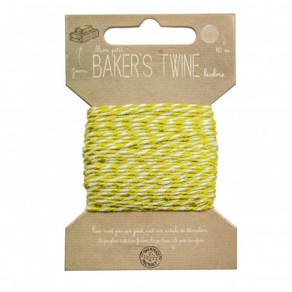 Cordonnet de fil blanc et jaune, diam. 1 mm, longueur 10 mètres, ficelle pour scrapbooking - Photo n°1