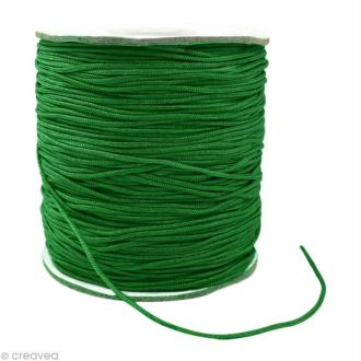 Cordon Shamballa 1 mm - Vert foncé au mètre (sur mesure)
