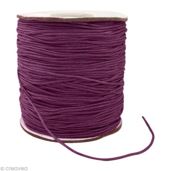 Cordon Shamballa 1 mm - Violet foncé au mètre (sur mesure) - Photo n°1