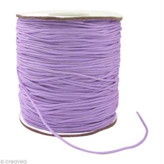 Cordon Shamballa 1 mm - Violet améthyste au mètre (sur mesure)