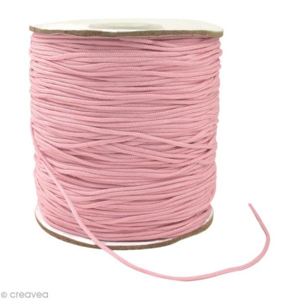 Cordon Shamballa 1 mm - Rose clair au mètre (sur mesure) - Photo n°1