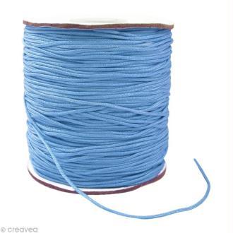 Cordon Shamballa 1 mm - Bleu saphir clair au mètre (sur mesure)