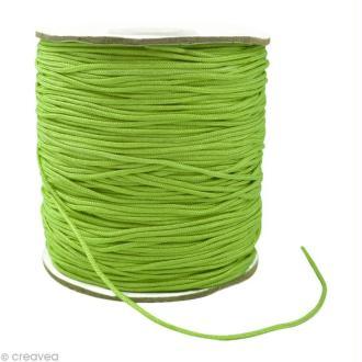 Cordon Shamballa 1 mm - Vert péridot au mètre (sur mesure)