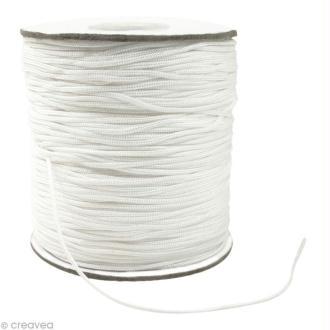 Cordon Shamballa 1 mm - Blanc au mètre (sur mesure)