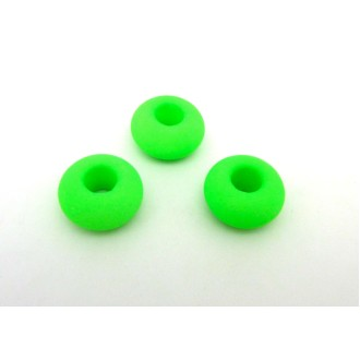 R-3 Perles Donut 14,4mm En Verre De Couleur Vert Fluo à Gros