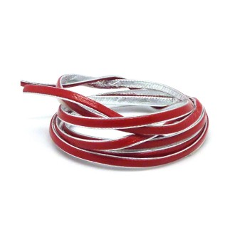 1m Lanière Cuir Synthétique Bicolore Rouge Cardinal / Argenté 3mm Aspect Brillant Vernis Idéal Brac