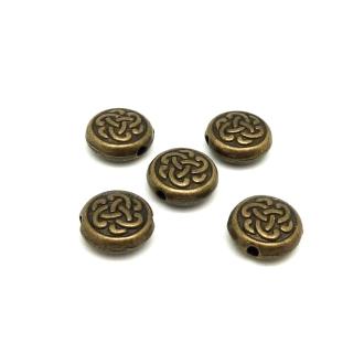 10 Perles Bronze En Métal Motif Celtique 10mm