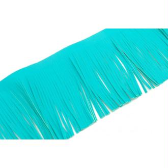 20cm De Galon Frange Bleu Vert Turquoise En Simili Cuir Pour Customisation, Pompon Hauteur Frange 1