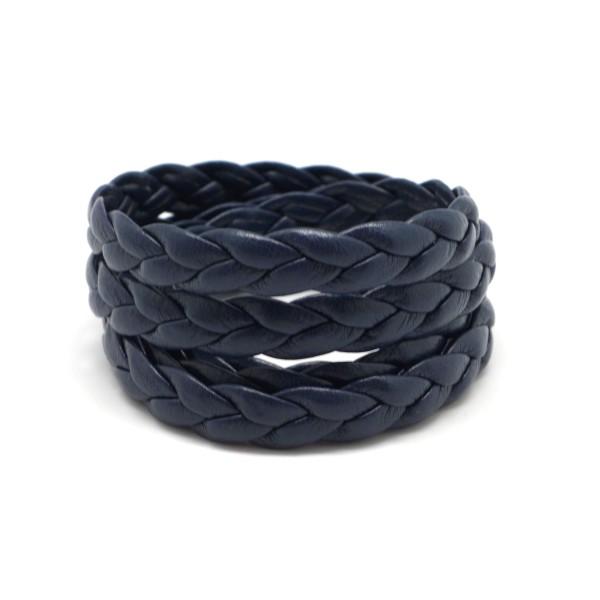70cm Lanière Simili Cuir Tressé 8mm Bleu Marine - Photo n°1