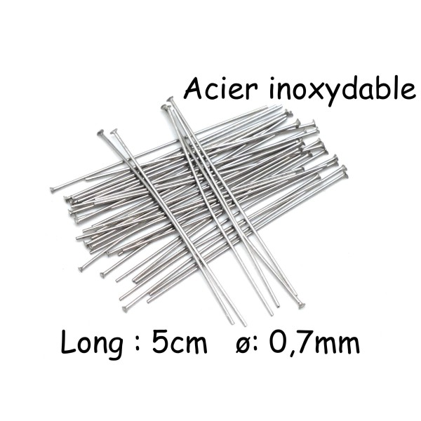Lot de 40 tiges oeil en acier inoxydable longueur 40 mm