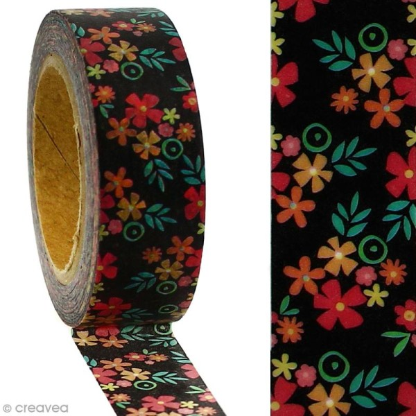 Masking tape Fleurs sur fond noir - 1,5 cm x 5 m - Photo n°2