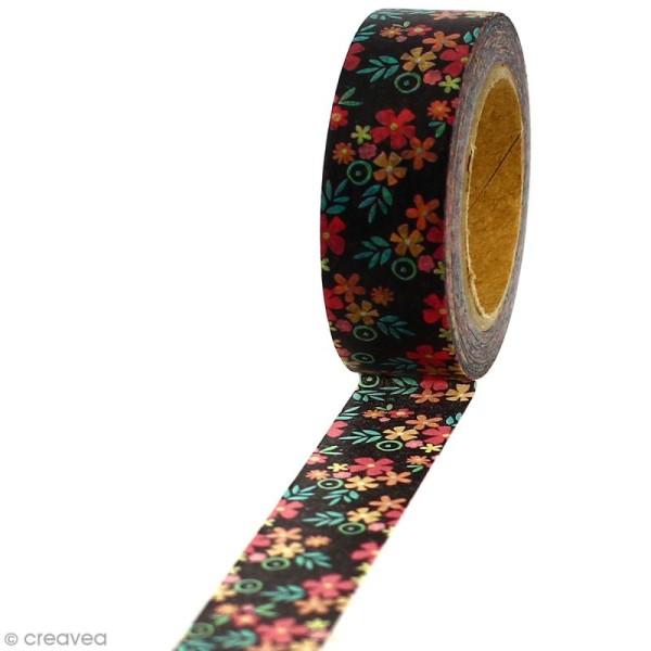Masking tape Fleurs sur fond noir - 1,5 cm x 5 m - Photo n°1