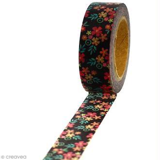 Masking tape Fleurs sur fond noir - 1,5 cm x 5 m