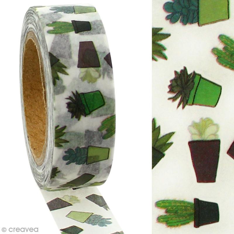 Masking tape Cactus sur fond blanc - 1,5 cm x 5 m - Photo n°2