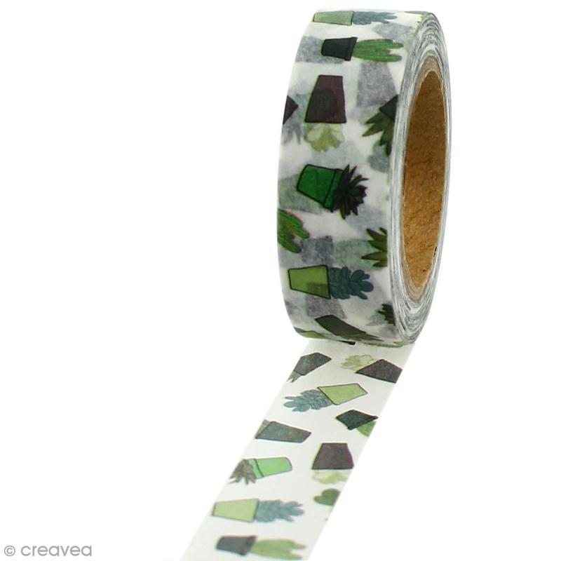 Masking tape Cactus sur fond blanc - 1,5 cm x 5 m - Photo n°1
