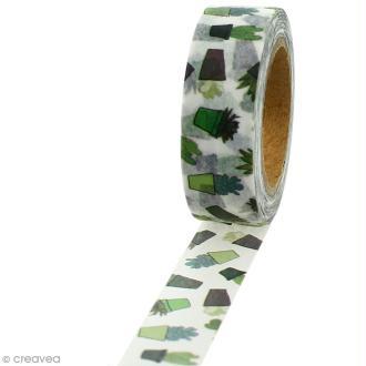 Masking tape Cactus sur fond blanc - 1,5 cm x 5 m