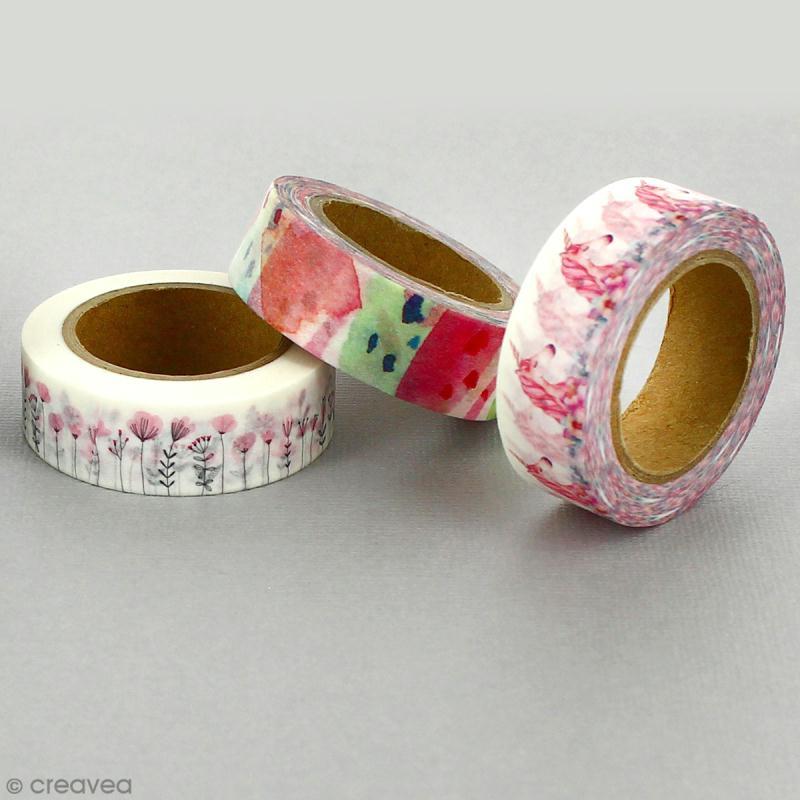 Masking tape Fleurs romantiques sur fond blanc - 1,5 cm x 5 m - Photo n°4