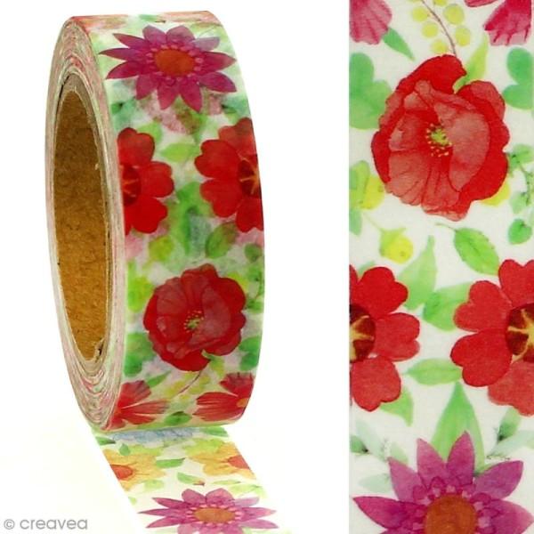 Masking tape Fleurs romantiques sur fond blanc - 1,5 cm x 5 m - Photo n°2