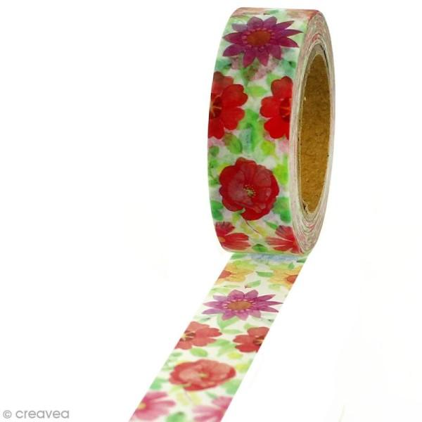 Masking tape Fleurs romantiques sur fond blanc - 1,5 cm x 5 m - Photo n°1