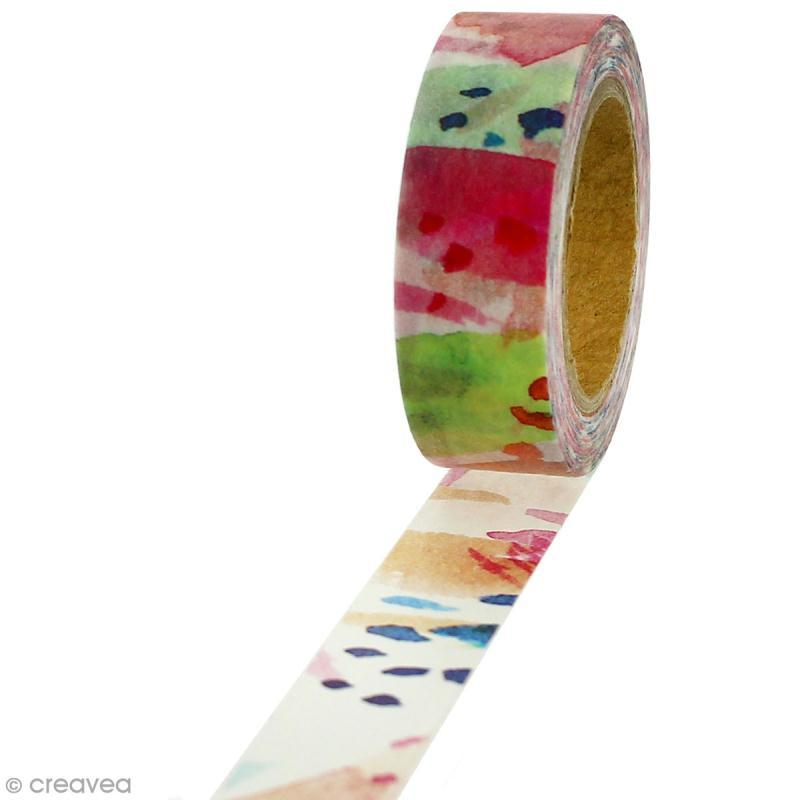 Masking tape Peinture aquarelle sur fond blanc - 1,5 cm x 5 m - Photo n°1