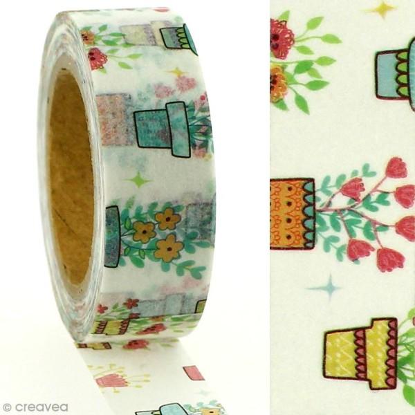 Masking tape Pots de fleurs sur fond blanc - 1,5 cm x 5 m - Photo n°2
