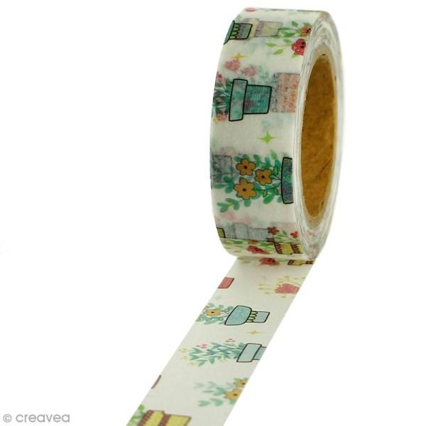 Masking tape Pots de fleurs sur fond blanc - 1,5 cm x 5 m - Photo n°1