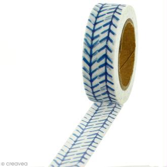 Masking tape Flèches bleues sur fond blanc - 1,5 cm x 5 m