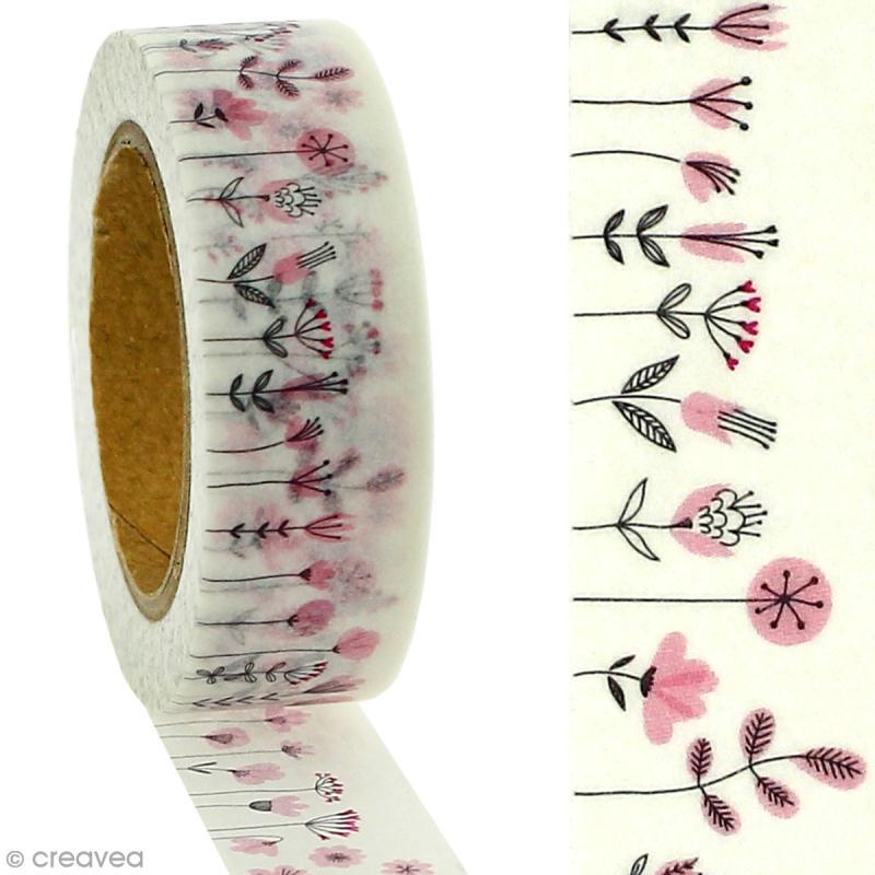 Masking tape Fleurs des champs roses sur fond blanc - 1,5 cm x 5 m - Photo n°2