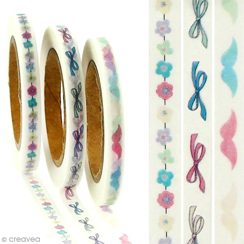 Lot masking tape Noeuds, fleurs, moustaches - 0,5 cm x 5 m - 3 pcs - Photo n°2